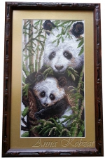 Картина крестиком «Панды» 48х30см