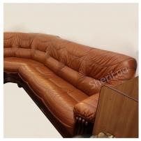 Кожаный угловой диван со спальным местом+кресло (рыжий) б/у