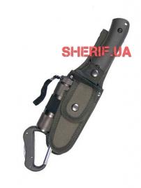 Нож Max Fuchs в чехле с фонариком и карабином Olive
