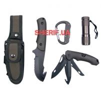 Нож Max Fuchs в чехле с фонариком и карабином Olive-2