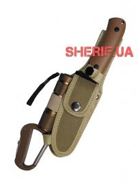 Нож Max Fuchs в чехле с фонариком и карабином Coyote