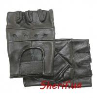 Перчатки MIL-TEC кожаные без пальцев байкерские без заклепок Black, 12517002