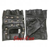 Перчатки MIL-TEC кожаные без пальцев байкерские с заклепками Black