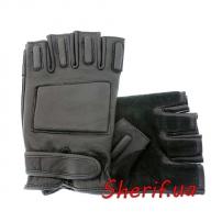 Перчатки охранника кожаные без пальцев MIL-TEC Black