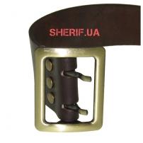 Ремень офицерский цельнокожаный коричневый (пряжка латунь)3