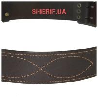 Ремень офицерский цельнокожаный коричневый (пряжка латунь)-5