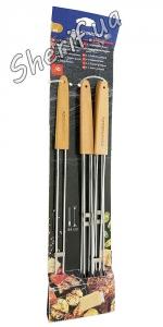 Двойные шампура с деревянной ручкой (6шт)