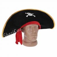 Шапка Пирата с красной повязкой (велюр)
