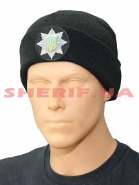 Шапка Полиции с 3D кокардой (черная, вязанная)
