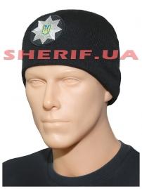 Шапка Полиция без отворота вяз/флис. с кокардой  черная 11439