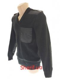 Свитер вязаный Полиция с накладками Black