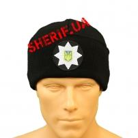 Шапка Полиции с кокардой (вязанная, черная)