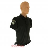 Футболка-поло Полиция черная Coolmax (потоотводящая)