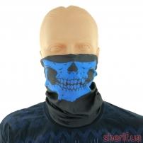 """Бафф-маска с рисунком """"Череп"""" (черно-синий)"""