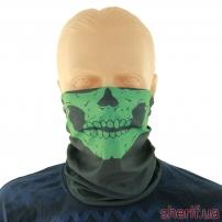 """Бафф-маска с рисунком """"Череп"""" (черно-зеленый)"""