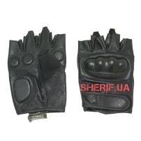 Кожаные тактические беспалые перчатки MIL-TEC Black