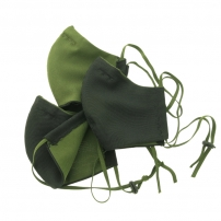 Маска багаторазова двостороння Black /Olive з фіксатором на носі, модель 3.20