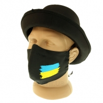 """Маска многоразовая """"Black с вышивкой Флаг Украины"""" c фиксатором на носу, модель 1.42"""