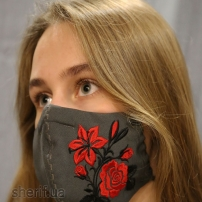 Маска многоразовая Grey Rose (вышивка роза) с фиксатором на носу, модель 4.36