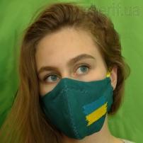 """Маска многоразовая """"Малахит с вышивкой Флаг Украины"""" и фиксатором на носу, модель 23.42"""