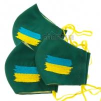 """Маска многоразовая """"Малахит с вышивкой Флаг Украины"""" , модель 23.41"""