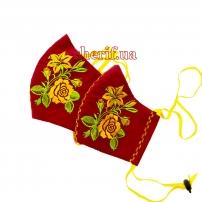 Маска многоразовая  Red Rose (вышивка розы) , модель 6.33