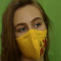 Маска многоразовая Yellow с вышивкой розы и фиксатором на носу, модель 7.22