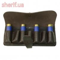 Патронташ-подсумок на пояс на 7 патронов 12 калибра (кожа, коричневый)