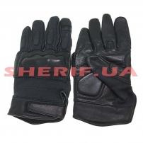 Кожаные тактические перчатки MIL-TEC с кевларовыми вставкам Black